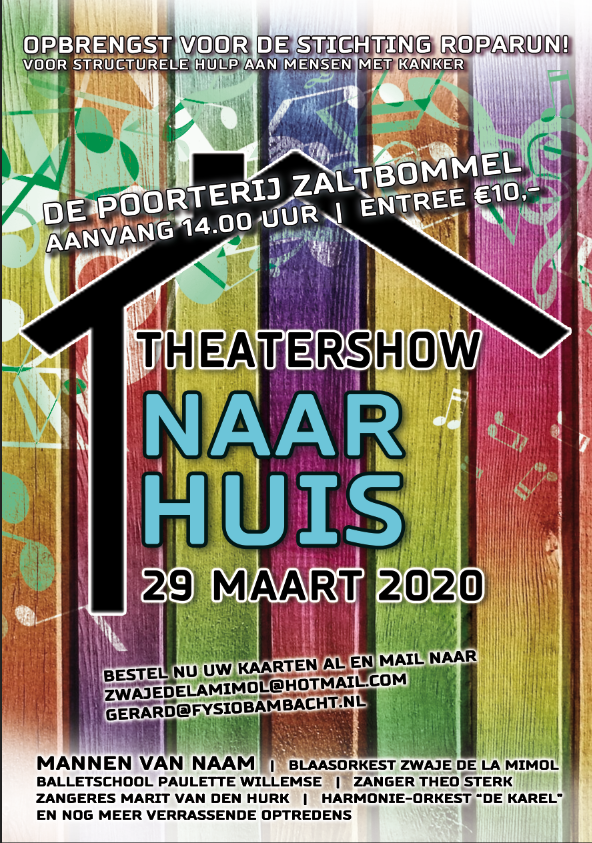 """Theatershow """"Naar Huis"""" Voor Roparun!"""